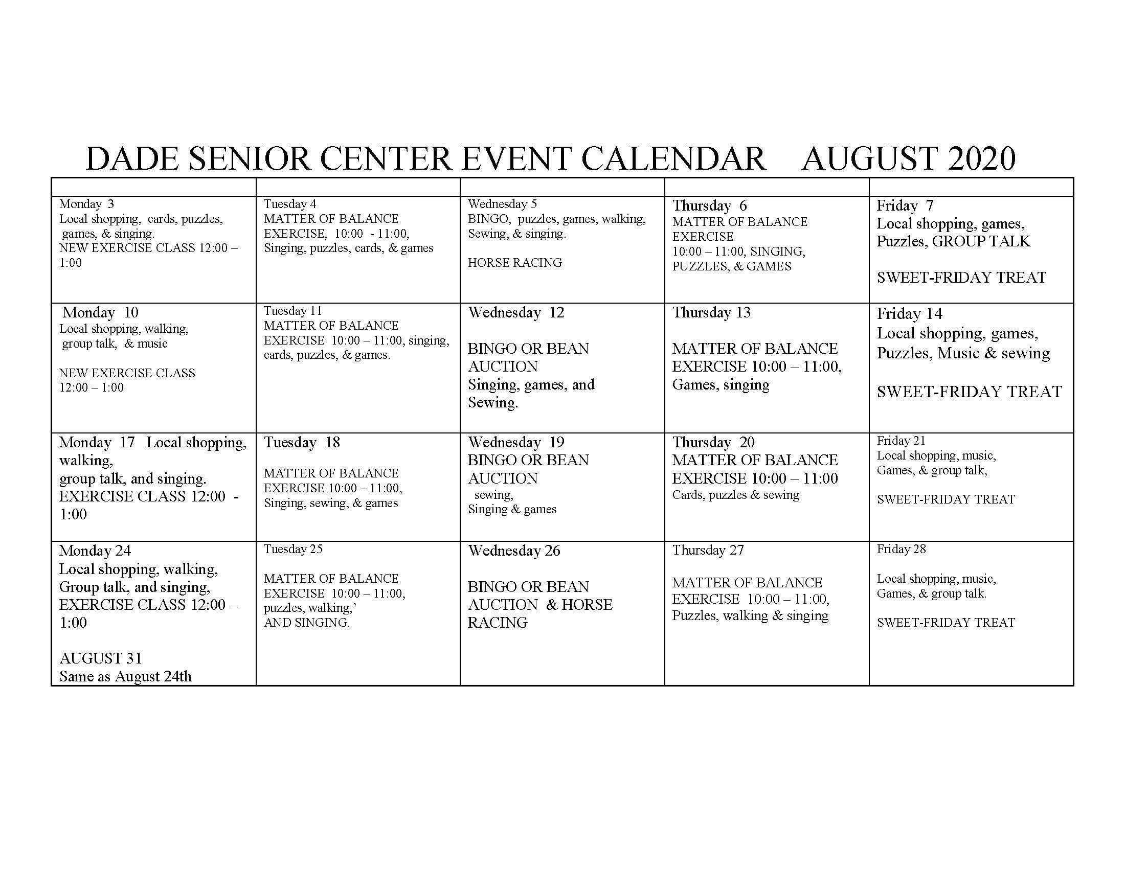 Senior Center CALENDAR - APRIL  2019