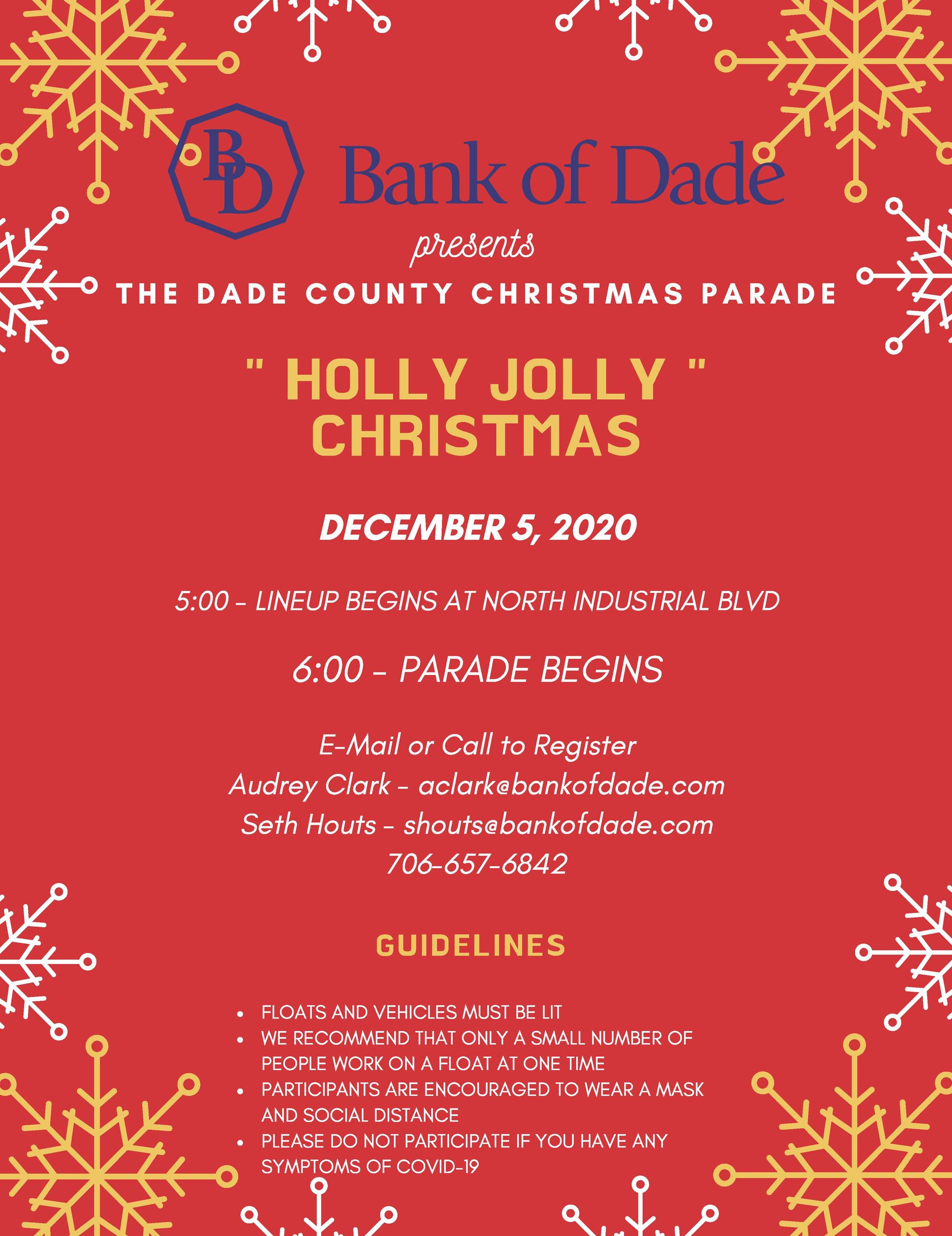 2020 Christmas Parade Flyer Bank of Dade