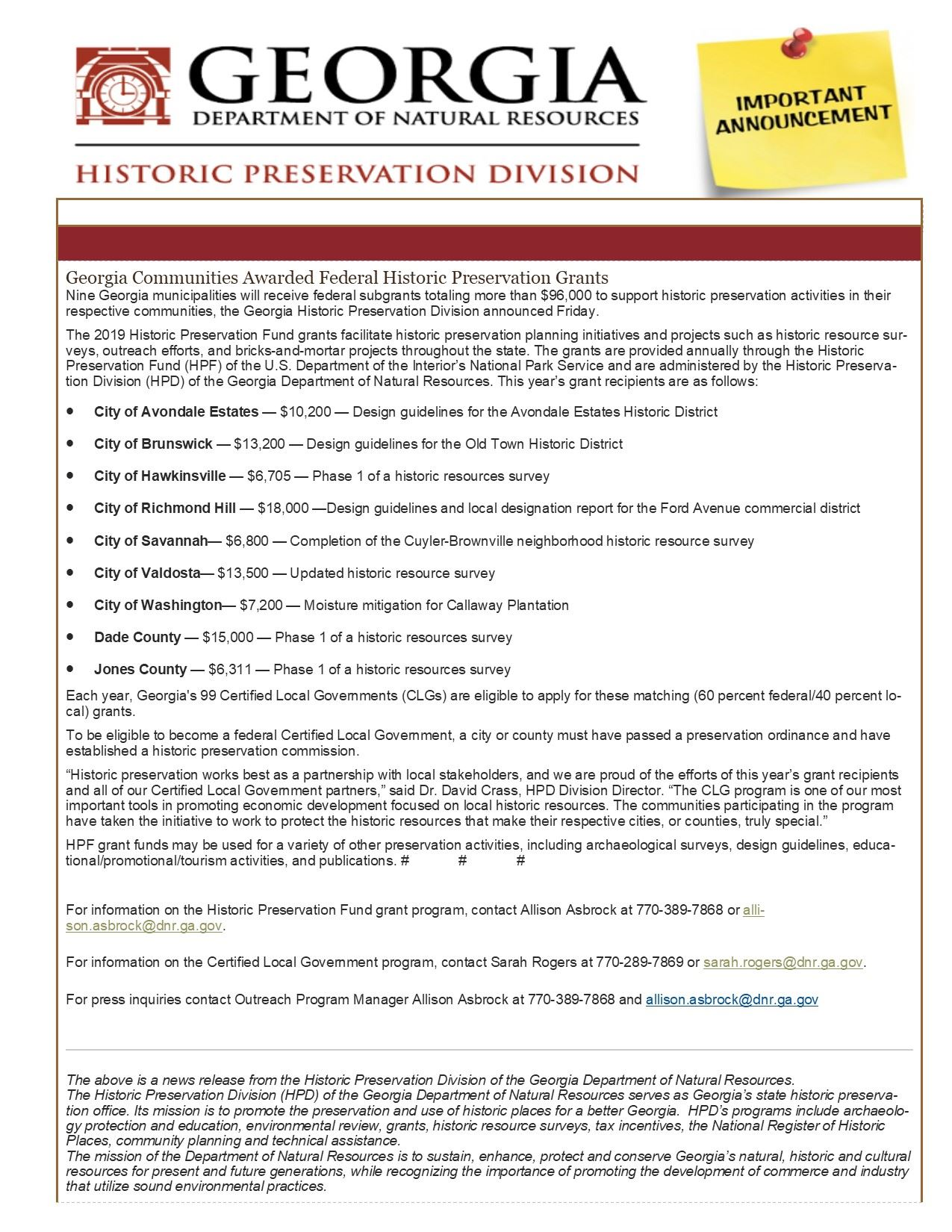 Trenton-Dade Historic Preservation Committee Grant Announcement